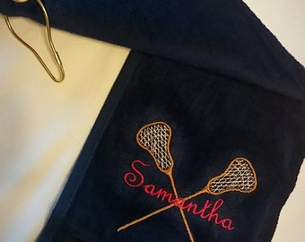 LACROSSE Towel (Sticks & Ball) PERSONALIZED Velour w/ Grommet Monogrammed ~ Sports Gift / Graduation / 6 Colors, You CUSTOMIZE!
