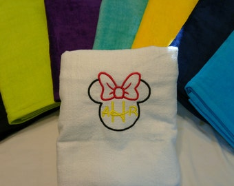 Minnie Mouse Velour Personalized DISNEY Theme 3 Ltr MONOGRAMMED BEACH Towel ~ Cruise Trip Family Vacation / Gift Daughter - Choose Colors!