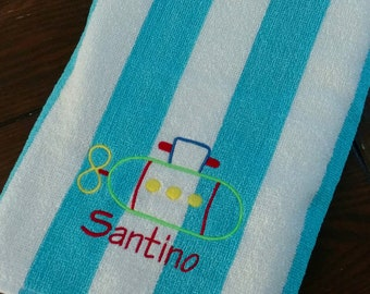 PERSONALIZED BEACH TOWEL ~ Submarine ~ Vacation Beach Trip Cruise Summer Camp  Pool Swim Lessons / Party Favor - Lightweight Terry or Velour