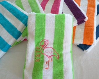 PERSONALIZED BEACH TOWEL ~ Flamingo ~ Vacation Beach Trip Cruise / Teacher Gift  / Bridesmaid / Spring Break Senior - Choose Terry or Velour