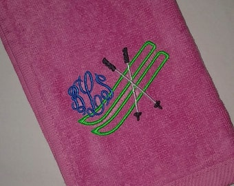 Snow Skiing Ski MONOGRAMMED Velour Sports TOWEL w/ Grommet Personalized ~ Family Ski Vacation Gift / Graduation / Daughter Mother Teams