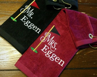 Wedding - MR. & MRS. Golf Customized PERSONALIZED Velour Golf Towel w/ Grommet~ Bride Groom / Honeymoon / Anniversary Gift / Couple Gift