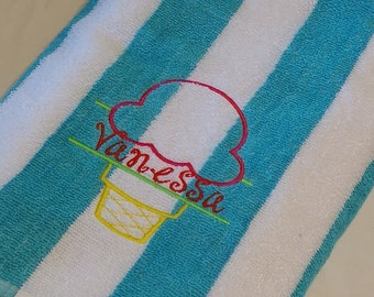 PERSONALIZED BEACH TOWEL ~ Ice Cream Cone ~ Vacation Beach Trip Cruise / Summer Camp  Pool Swim Lessons - Choose Lightweight Terry or Velour