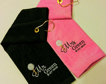 Wedding - MR. & MRS. Customized PERSONALIZED Velour Golf Towel w/ Grommet~ Bride Groom / Cotton Anniversary Gift / Couple Gift - 7 Colors!