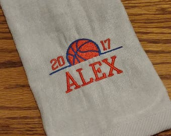 BASKETBALL ~ Velour Sports Towel w/ Grommet / PERSONALIZED Monogram / Team Tournament League Gift Trophy Towel / Men Son Father / Customize!