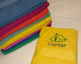 PERSONALIZED TOWEL ~ Camping  Tent  Vacation Beach Trip  / Summer Camp  / RV Travel Trailer Camper Fall Winter Boy or Girl Gift - Customize!