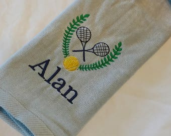 TENNIS TOWEL ~ Velour Sports Towel w/ Grommet PERSONALIZED Father Son Team Tournament / Wedding Anniversary Gift Set Option - You customize!
