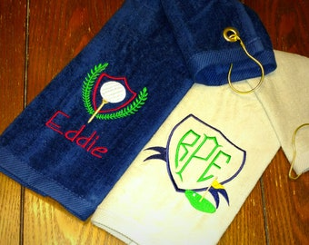 Golf GIFT SET ~ Velour Golf Towel w/ Grommet MONOGRAMMED Personalized /Father Son Trophy Towels / Tournament League - You Customize!