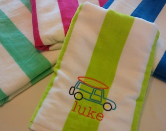 Kids PERSONALIZED BEACH TOWEL ~ Surf Surfing Woody Wagon ~ Family Vacation Beach Trip / Summer Camp / Pool Party Swim - Velour Custom Towel