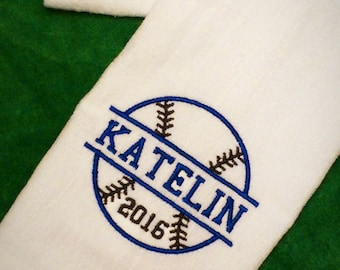SOFTBALL Baseball Custom Embroidered PERSONALIZED Velour Sports Towel w/ Grommet Monogrammed Boy Girl Team Gift Travel Ball - Choose Colors!