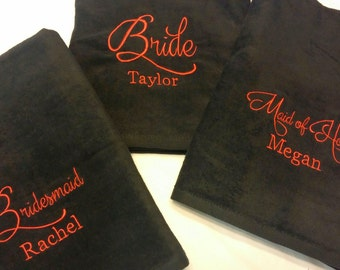 WEDDING PACKAGE (2 Towels: Bride + Maid of Honor) Gift - Personalized Beach Towels - Bachelorette - Destination Wedding - You Customize!