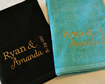 Wedding / Honeymoon / Anniversary Personalized Beach Towel Gift SET ~ Fiancee Husband Wife Gift  / Beach Wedding Custom ~ Choose Colors