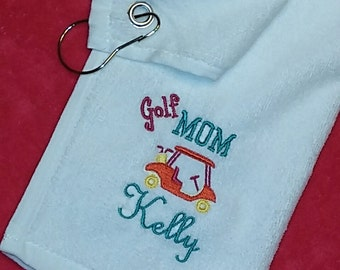 "Preppy ""GOLF MOM"" Custom Embroidered PERSONALIZED Velour Golf Towel w/ Grommet Monogrammed ~ Club Gift ~ Ladies Women Gift"