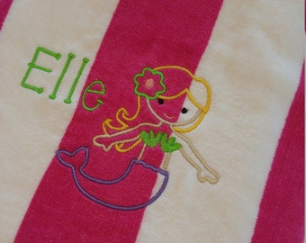 Kids PERSONALIZED BEACH TOWEL ~ Mermaid ~ Family Vacation Beach Trip / Summer Camp / Pool Party Swim - Choose Lightweight Terry or Velour