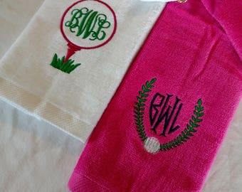 Golf GIFT SET ~ Velour Golf Towel w/ Grommet MONOGRAMMED Personalized / Mother Daughter Trophy Towels / Tournament League - You Customize!