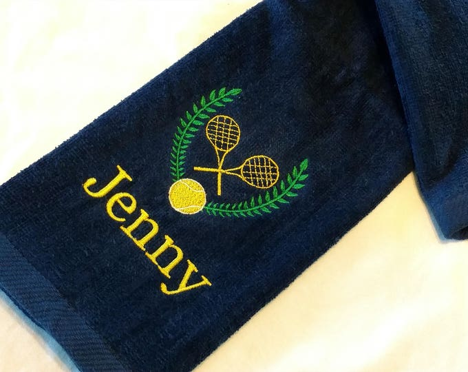 Featured listing image: TENNIS TOWEL ~ Velour Sports Towel w/ Grommet PERSONALIZED Monogram / Mother Daughter Trophy Towel / Tournament League Gift - Customize!
