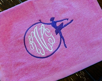 BALLET Custom Embroidered PERSONALIZED Monogram Monogrammed Velour Towel w/ Grommet ~ Dance / Ballerina - Daughter Granddaughter Gift