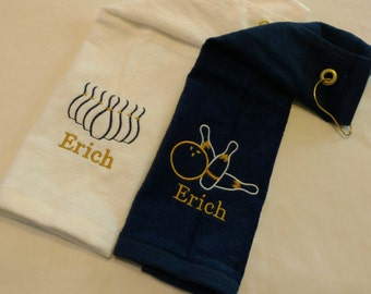 PERSONALIZED BOWLING SET ~ Customized Monogrammed Velour Bowling Towels w/ Grommet ~  Team League Gift Men Ladies Women Youth