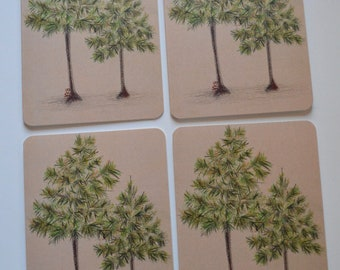 Georgia Longleaf Pine Tree Watercolor and Pencil Notecard (set of 4)