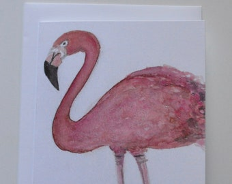 Watercolor + Pastel Flamingo Notecards - Single Flamingo Notecard with Envelope