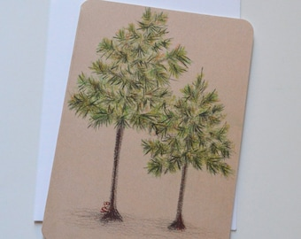 Georgia Longleaf Pine Tree Watercolor and Pencil Notecard (single card)