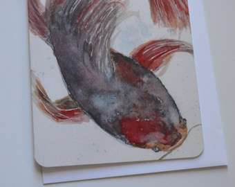 Catfish Watercolor + Pencil Notecard (single card)