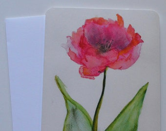 Open Tulip Watercolor + Pastel Notecard (single card)