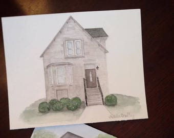 Home Watercolor Painting - Original Home Watercolor - Custom House Portrait Illustration - Realtor Home Closing Gift - Christmas Gift