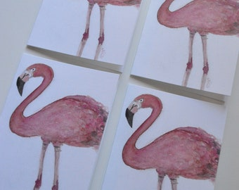 Watercolor + Pastel Flamingo Notecards - Set of 4 Flamingo Notecards with Envelopes