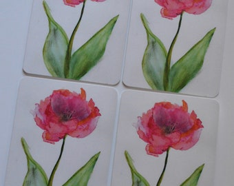 Open Tulip Watercolor + Pastel Notecard (set of 4 cards)