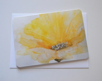 Yellow Flower Watercolor, Pencil, and Pastel Notecard (single card)