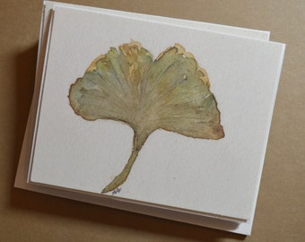 Watercolor Gingko Leaf Notecards - Set of 4 Gingko Leaf Notecards with Envelopes