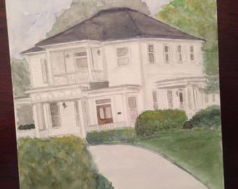 Venue Watercolor Painting, Unique Wedding Gift, Custom Church Illustration, Synagogue or Temple Watercolor Painting, Wedding Venue Painting