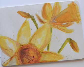 Daffodil Watercolor, Ink, Pencil, and Pastel 8x10 Print