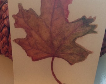 Fall Leaf Notecards - Set of 4 Fall Leaf Watercolor Notecards with Envelopes