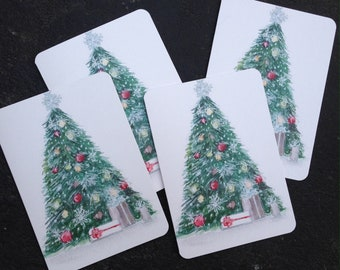 Watercolor Vintage Christmas Tree Notecards - Set of 4 Christmas Notecards with Envelopes
