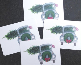 Watercolor VW bug Christmas Notecards - Set of 4 Christmas Notecards with Envelopes