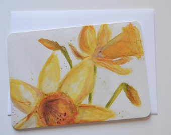 Daffodil Watercolor, Ink, Pencil, and Pastel Notecard (single card)