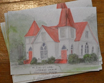 Notecards of Mt. Zion-St. Luke Lutheran Church (set of 4)