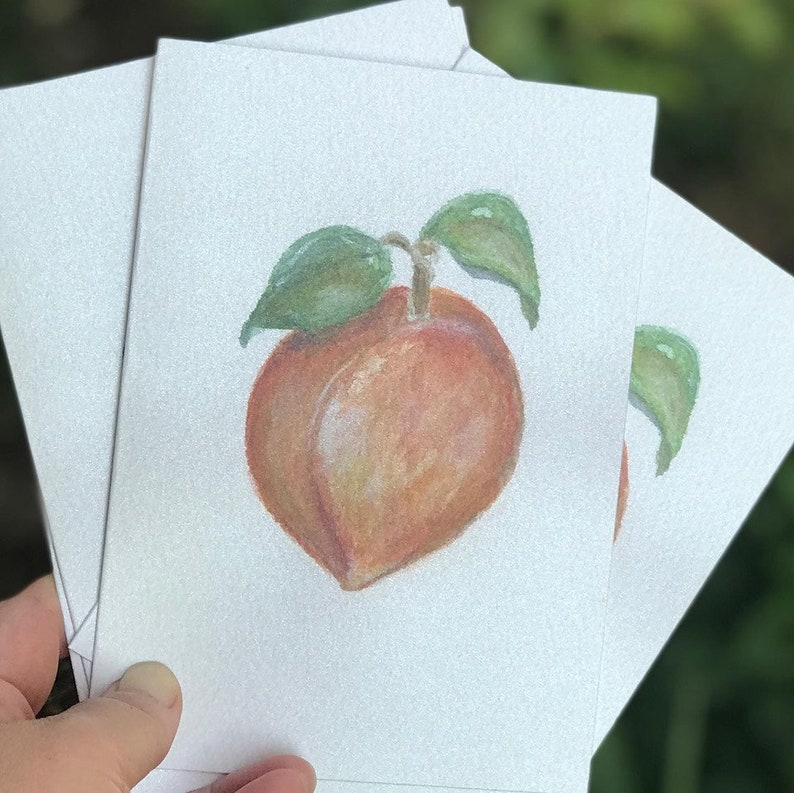 Peach Watercolor and Pastel Notecard set of 4 image 0