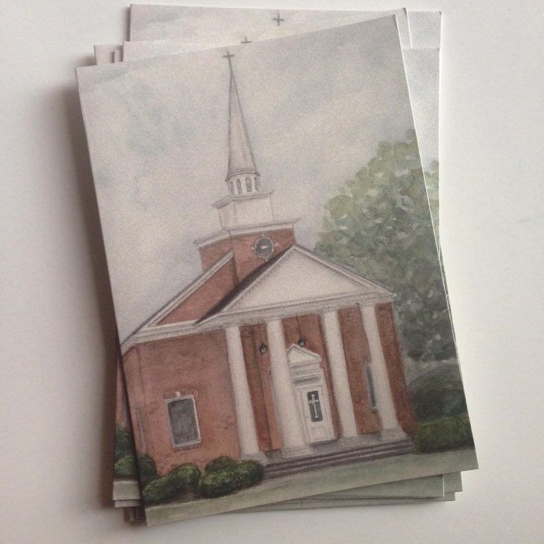 Watercolor Painting Print of Oglethorpe First Baptist Church  image 0