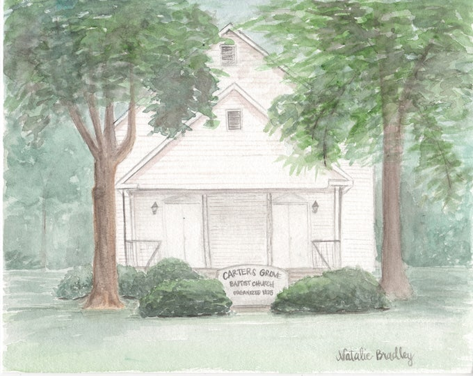 Featured listing image: Church Watercolor Painting, Custom Church Illustration and Original Venue Watercolor Painting