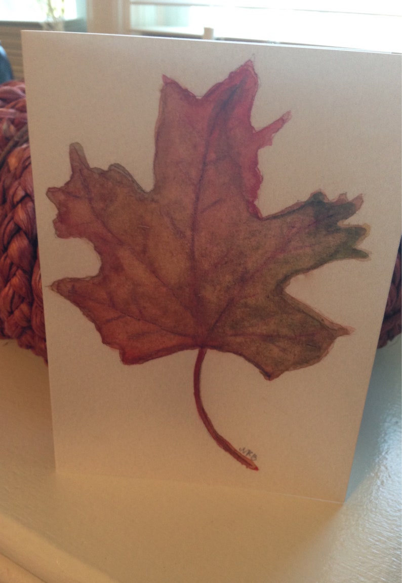 Fall Leaf Notecards  Set of 4 Fall Leaf Watercolor Notecards image 0