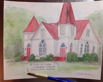 Watercolor Painting of Mt. Zion- St. Luke Lutheran Church in Oglethorpe, GA - 8x10 print