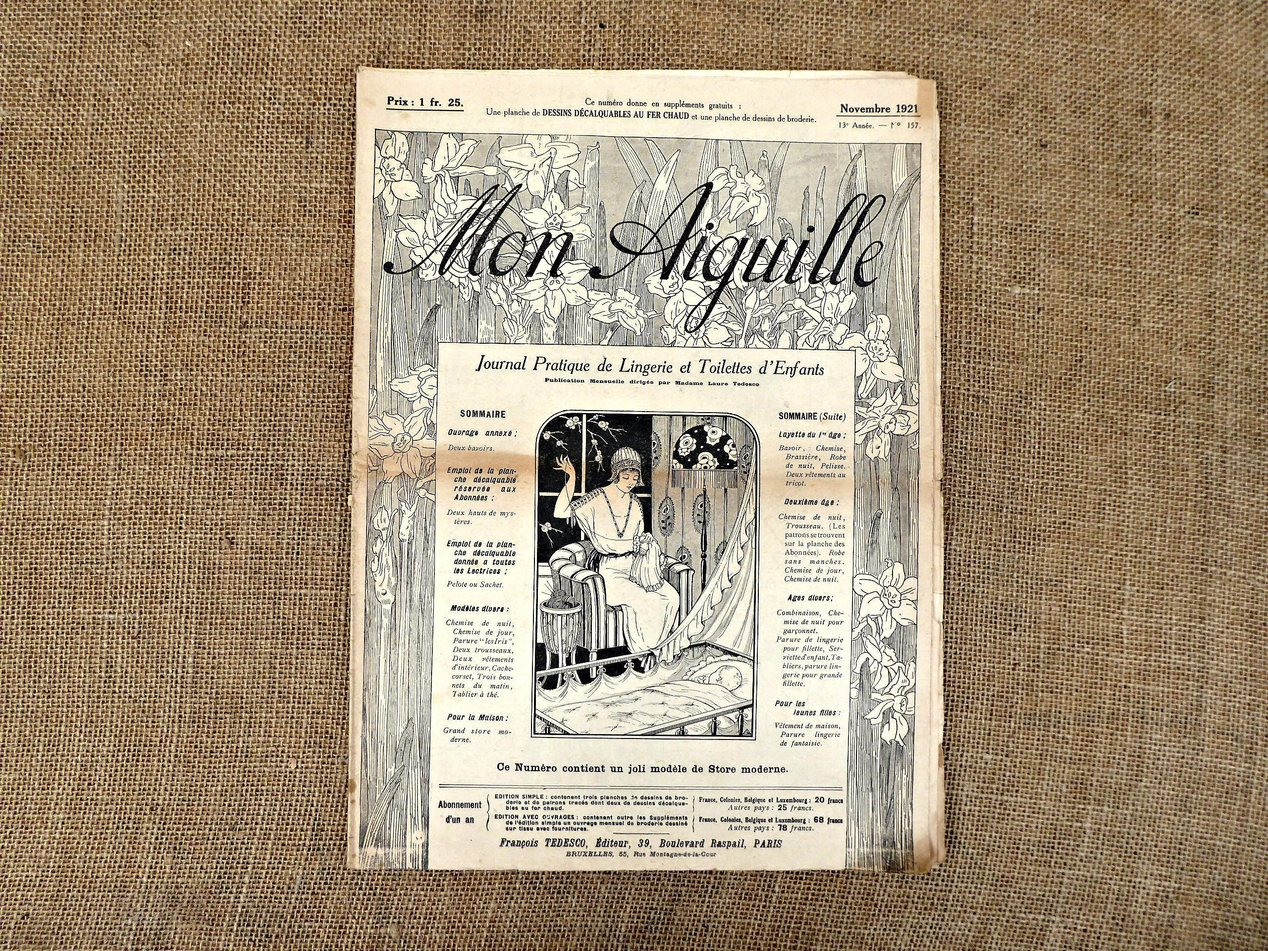 Vintage French Magazine Mon Aiguille 1921 Embroidery Etsy