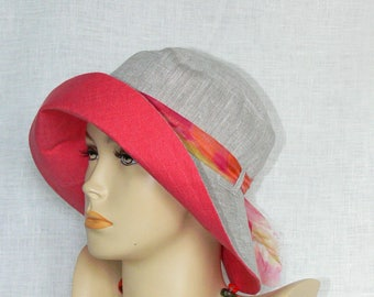 Linen hat, summer hat, women's hat, Oeko Tex,
