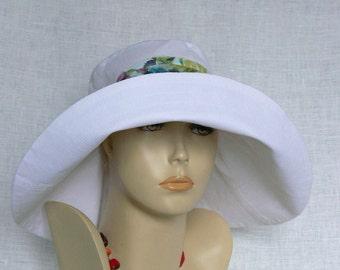 Linen hat, summer hat, Women's hat, Oeko Tex, Beach Set, Wide-brimmed Hat, White linen hat, White Hat, Women's wide-brimmed hat