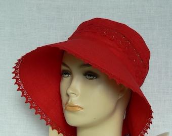 Linen hat, summer hat, women's hat, Oeko Tex,red