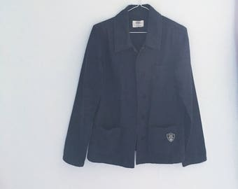 Vintage Military navy blue button up Shirt Jacket small