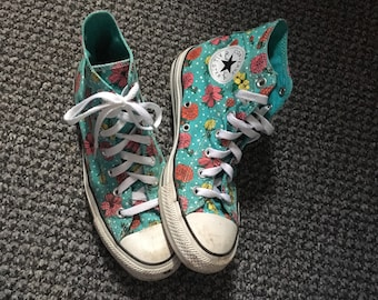 54fc0e92511e Vintage Converse Turquoise Polka dot Floral hi top Trainer Sneakers